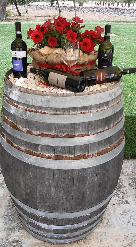Wine display, bottles and wine barrell