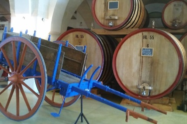 wine cart and barrels